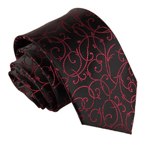 TiesDirect.co.uk - Swirl Regular Tie Colour black-burgundy