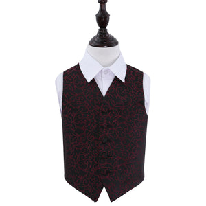 TiesDirect.co.uk - Swirl Waistcoat - Boys Colour black-burgundy