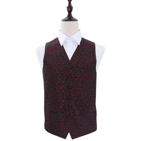 TiesDirect.co.uk - Swirl Waistcoat Colour black-burgundy