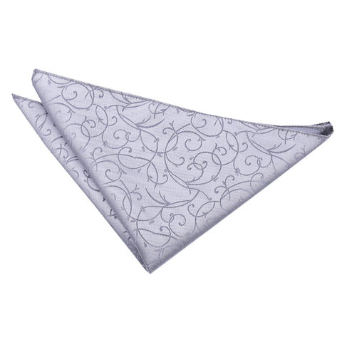 TiesDirect.co.uk - Swirl Handkerchief Colour silver