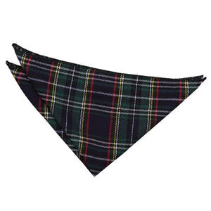 TiesDirect.co.uk - Tartan Handkerchief Colour black-green-thin-stripes