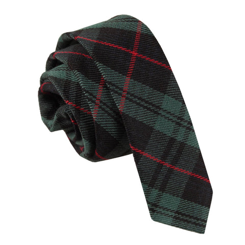 TiesDirect.co.uk - Tartan Skinny Tie Colour black-green-red