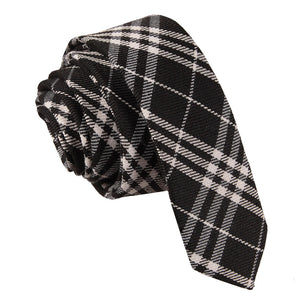 TiesDirect.co.uk - Tartan Skinny Tie Colour black-white