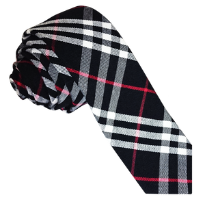 TiesDirect.co.uk - Tartan Skinny Tie Colour black-white-red