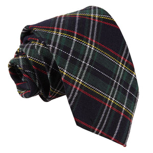 TiesDirect.co.uk - Tartan Regular Tie Colour black-green-thin-stripes