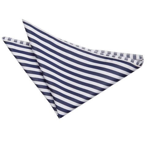 TiesDirect.co.uk - Thin Stripe Handkerchief Colour white-navy-blue