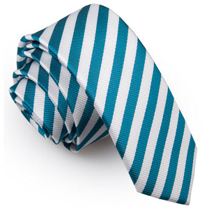 TiesDirect.co.uk - Thin Stripe Skinny Tie Colour white-teal