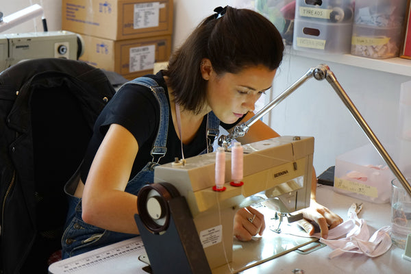 alice sewing in lara london lingerie bra factory for luxury sustainable eco underwear