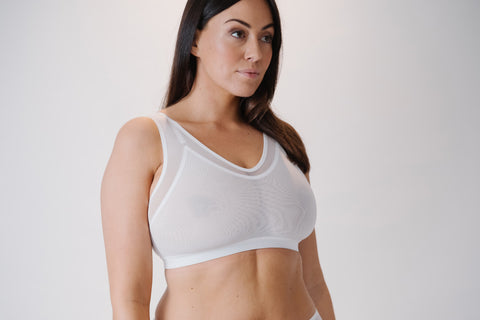 The Crop Top is a minimising lingerie bra for women's underwear with support for big boobs with wide straps and wireless comfortable support