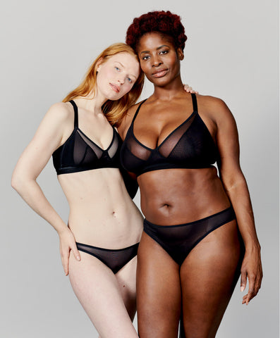 Non-Wired bras for a range of sizes in sustainable underwear made in the UK