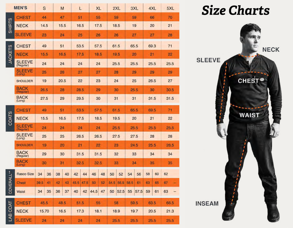 rasco fire retardant clothing men's size chart