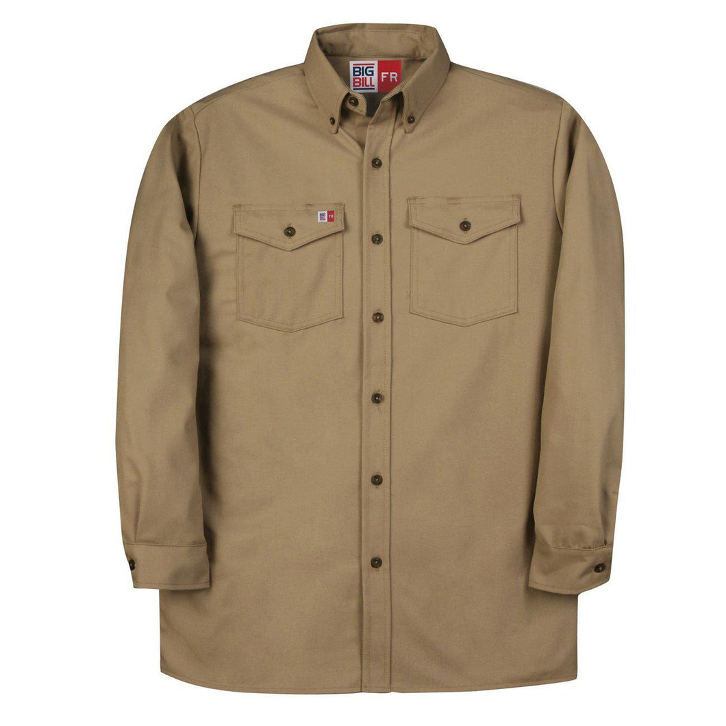 Big Bill FR 147BDTS7-KAK Khaki Dress Shirt - Fire Retardant Shirts.com
