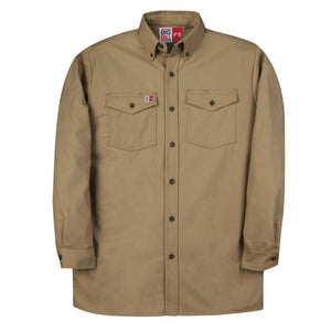 Big Bill FR 147BDUS7-KAK Khaki Dress Shirt - Fire Retardant Shirts.com