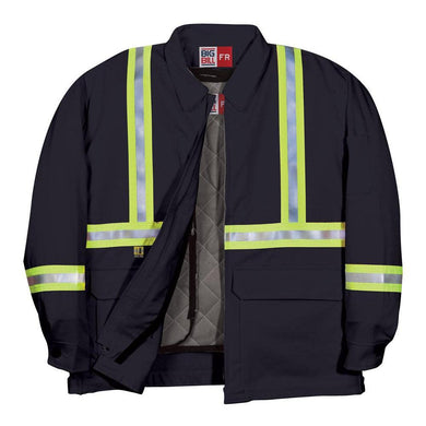 Big Bill FR CL345US9-NAY Navy Team Jacket with Reflective Material - Fire Retardant Shirts.com
