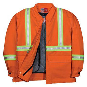 Big Bill FR CL345US9-ORA Orange Team Jacket with Reflective Material - Fire Retardant Shirts.com