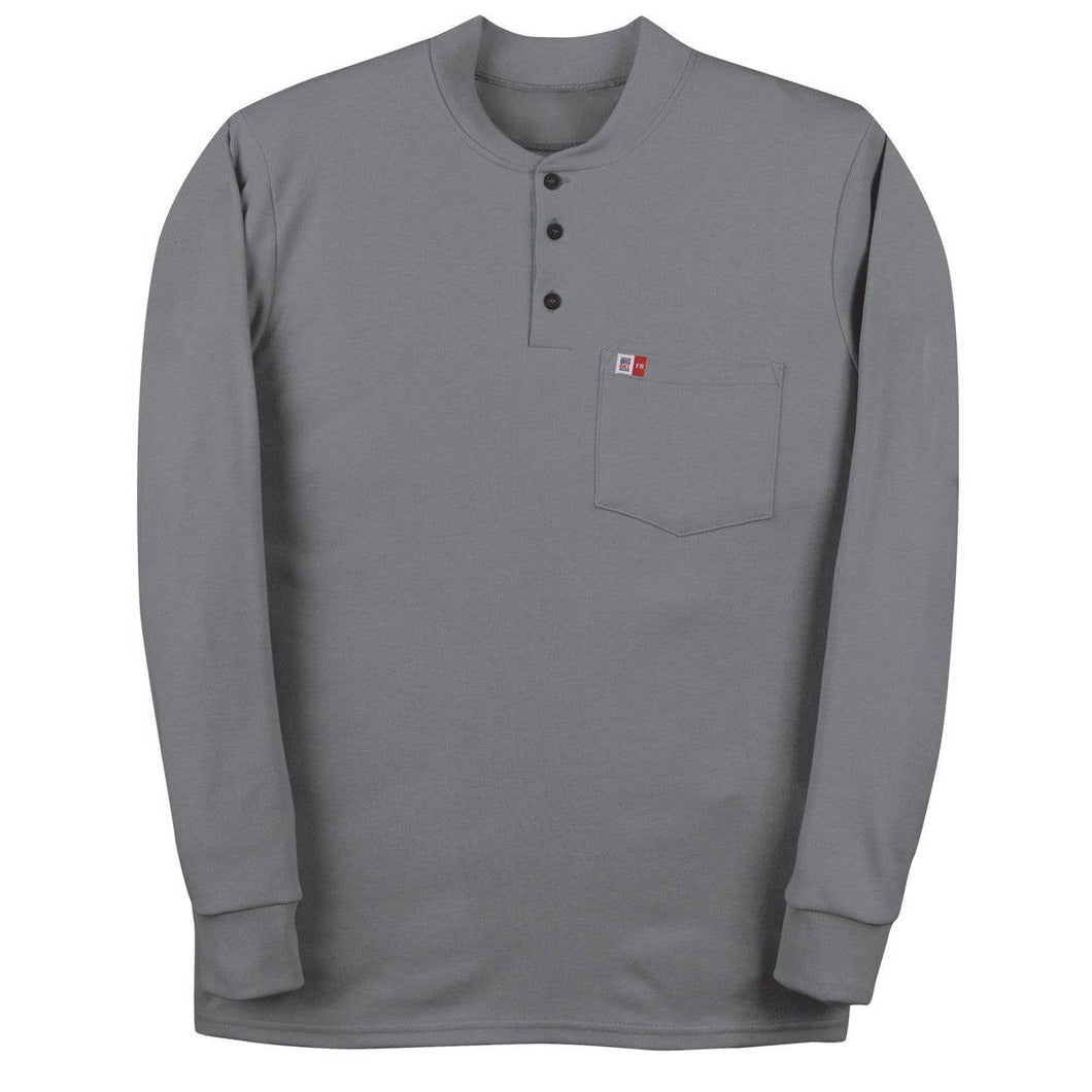 Big Bill FR DW18KI6-GRY Gray Long Sleeve Henley - Fire Retardant Shirts.com