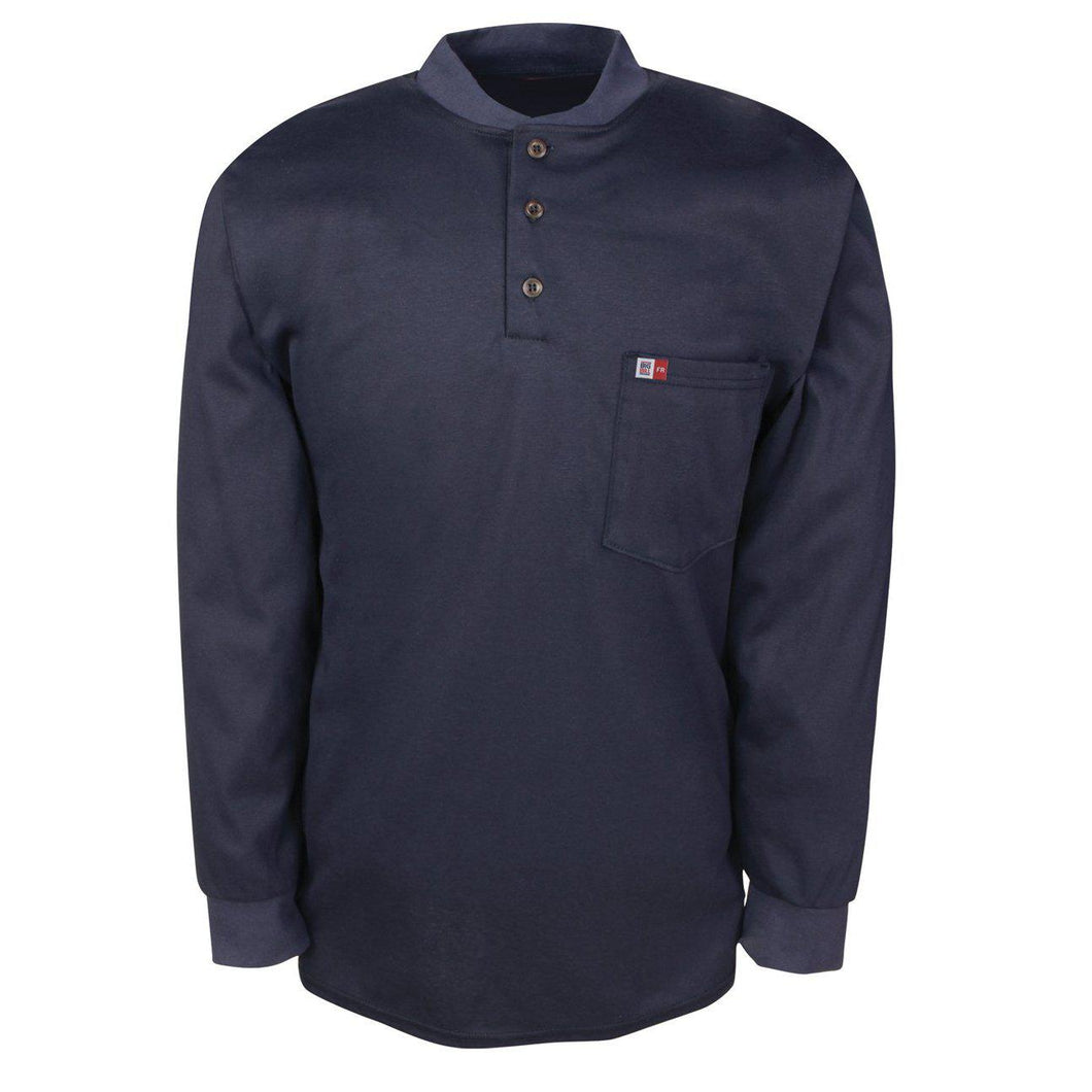 Big Bill FR DW18KI6-NAY Navy Long Sleeve Henley - Fire Retardant Shirts.com