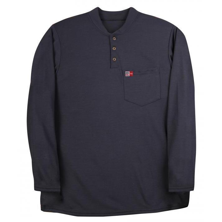 Big Bill FR DW18PD8-NAY Navy Long Sleeve Henley - Fire Retardant Shirts.com