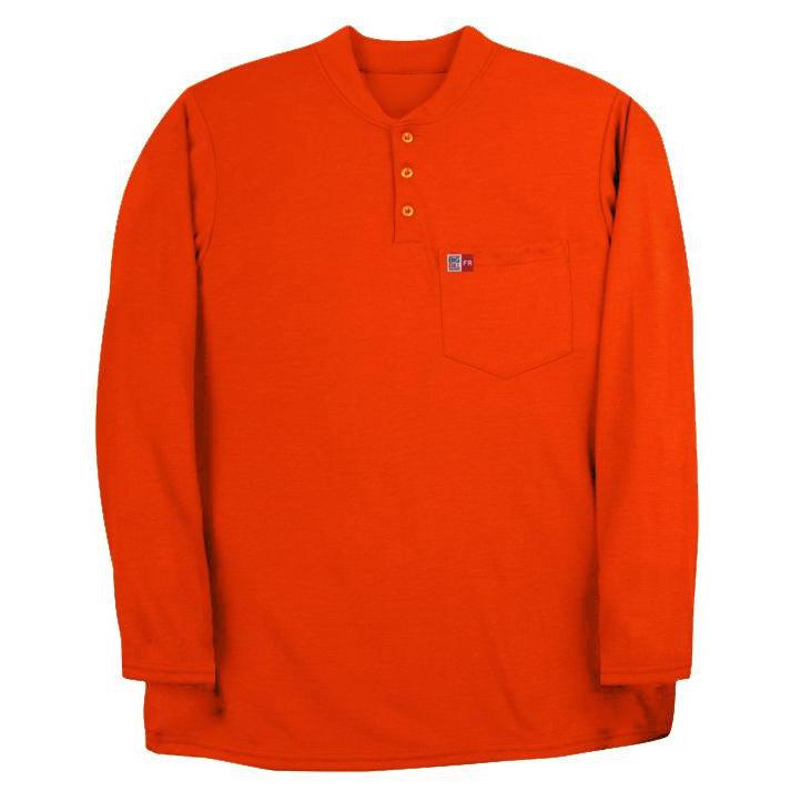 Big Bill FR DW18PD8-ORA Orange Long Sleeve Henley - Fire Retardant Shirts.com