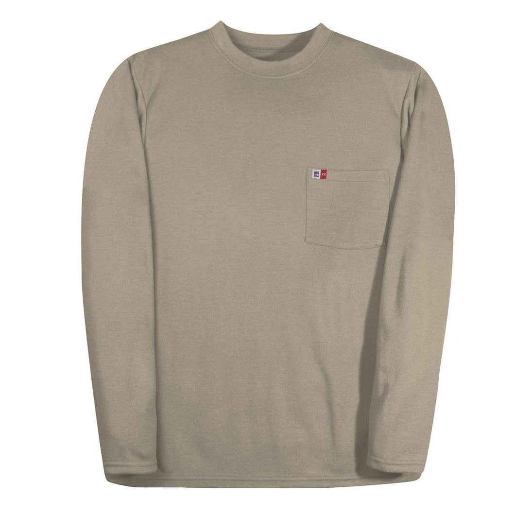 Big Bill FR DW5PD5-KAK Khaki Long Sleeve Henley - Fire Retardant Shirts.com