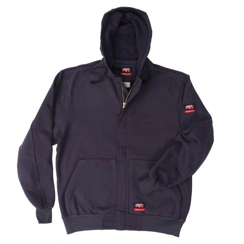 Key Apparel FR 846.40 Navy Zip Front Sweatshirt - Fire Retardant Shirts.com