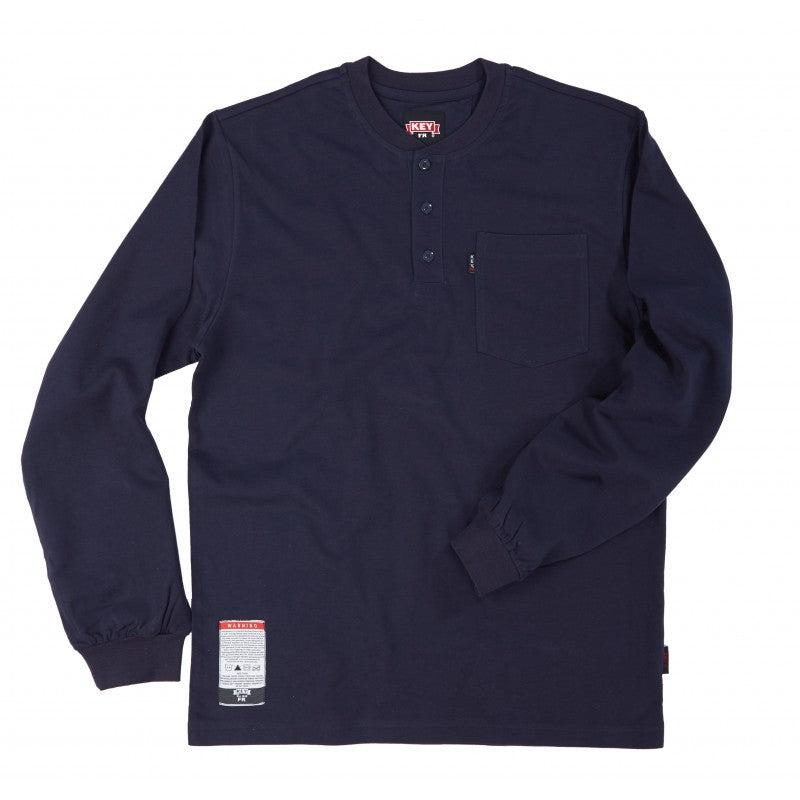 Key Apparel FR 855.40 Navy FR Henley T-Shirt - Fire Retardant Shirts.com