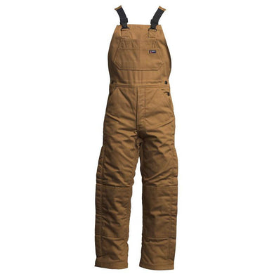 LAPCO FR BIFRWS9BR Brown 9oz. FR Insulated Bib Overall with Windshield Technology