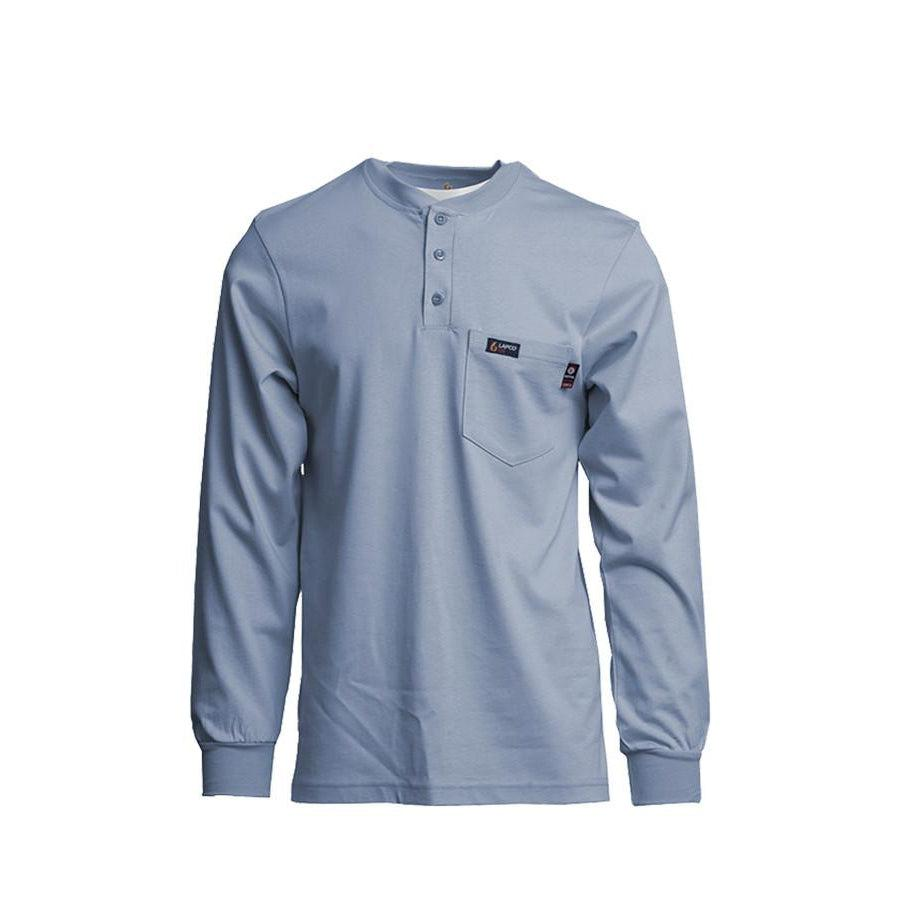 LAPCO FR FRT-HJE-MBL Medium Blue 7oz. FR Henley Tees