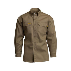 LAPCO FR GOS7KH Khaki 7oz. FR Uniform Shirt - Fire Retardant Shirts.com