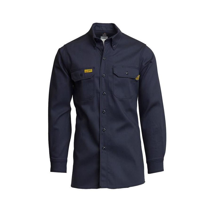 LAPCO FR GOS7NY Navy 7oz. FR Uniform Shirt - Fire Retardant Shirts.com