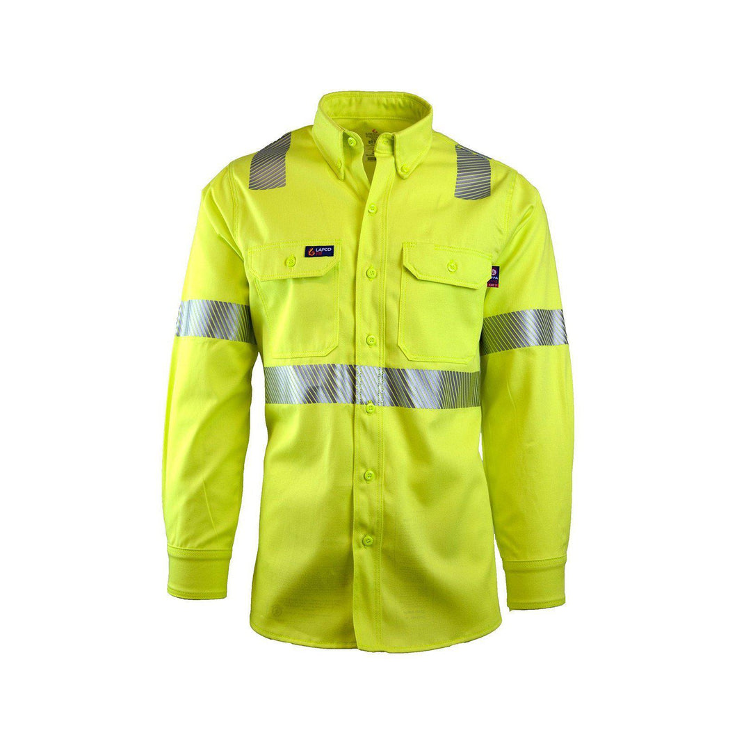 LAPCO FR IHV7C2 Hi-Viz Class-2 7oz. FR Uniform Shirts - Fire Retardant Shirts.com