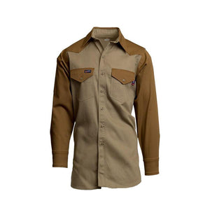 LAPCO FR IKB7 Khaki/Brown 7oz. FR Two-Tone Western Shirts - Fire Retardant Shirts.com