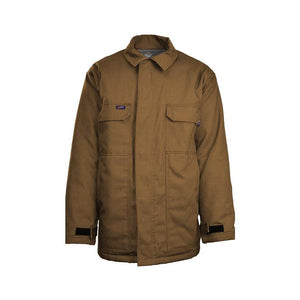 LAPCO FR JCFRWS9BR Brown 9oz. FR Insulated Chore Coats with Windshield Technology