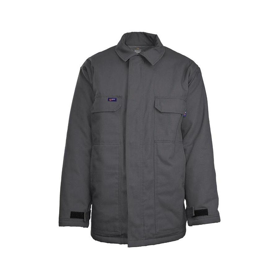 LAPCO FR JCFRWS9GY Gray 9oz. FR Insulated Chore Coats with Windshield Technology