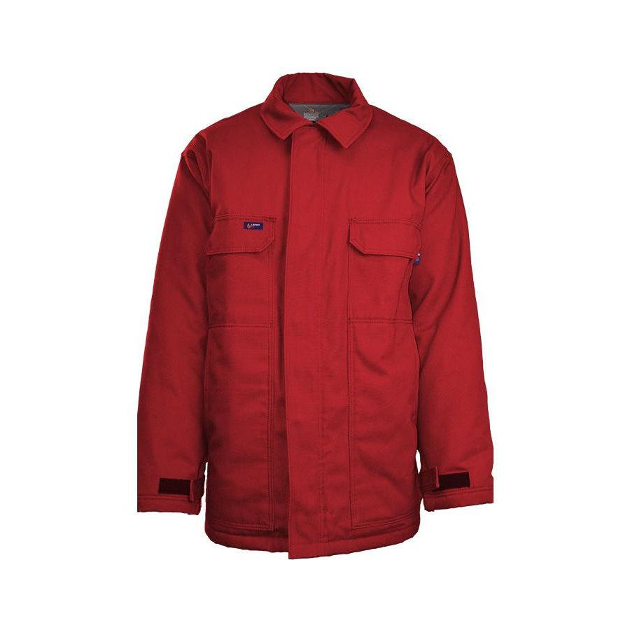LAPCO FR JCFRWS9RE Red 9oz. FR Insulated Chore Coats with Windshield Technology