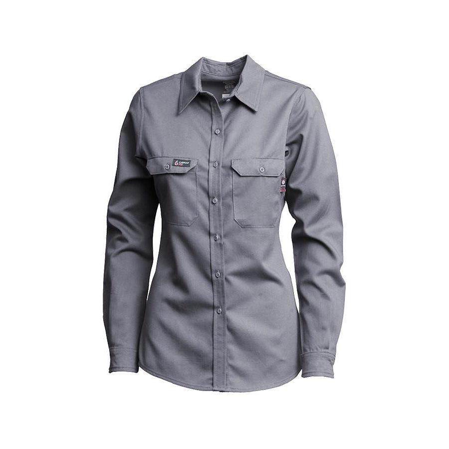 LAPCO FR L-SFRACGY Gray 7oz. Ladies FR Uniform Shirts - Fire Retardant Shirts.com