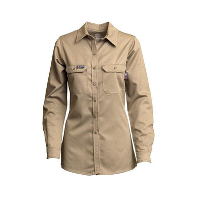 LAPCO FR L-SFRACKH Khaki 7oz. Ladies FR Uniform Shirts - Fire Retardant Shirts.com
