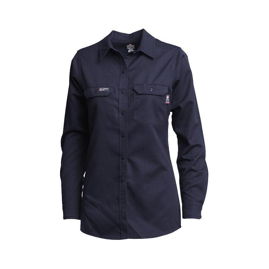 LAPCO FR L-SFRACNY Navy 7oz. Ladies FR Uniform Shirts - Fire Retardant Shirts.com
