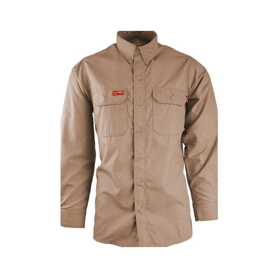 LAPCO FR NXSC45KH Khaki 4.5oz. FR Uniform Shirt - Fire Retardant Shirts.com