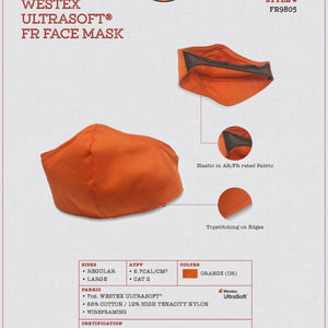 Rasco FR FR9805 Westex UltraSoft 7 oz. Orange FR Face Mask