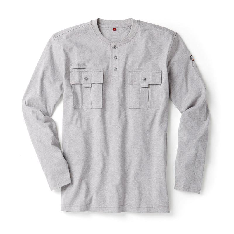 Rasco FR FR0613GY Heather Gray Utility Henley T-Shirt - Fire Retardant Shirts.com