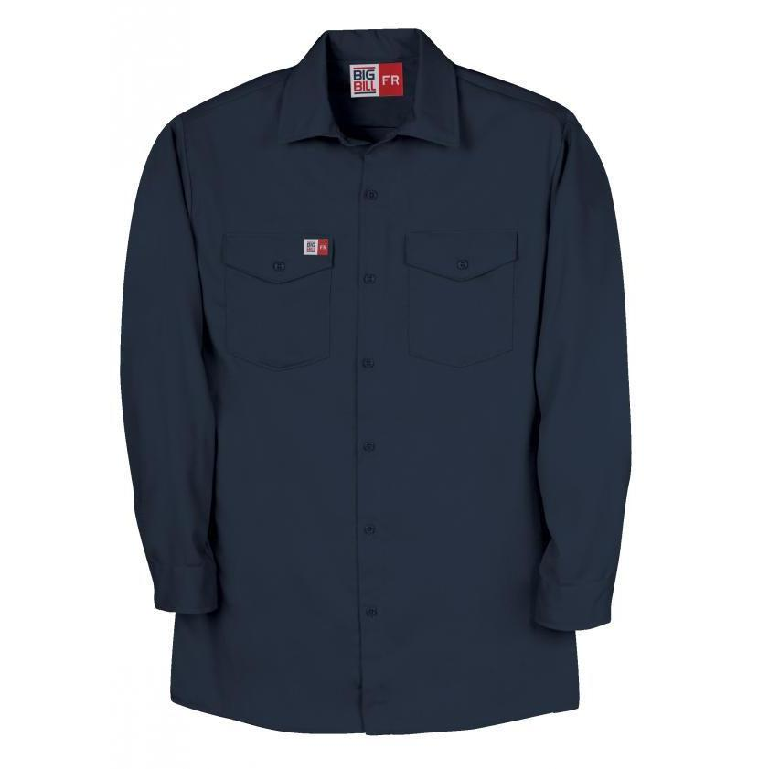 Big Bill FR TX231DH6-NAY Navy Industrial Work Shirt - Fire Retardant Shirts.com