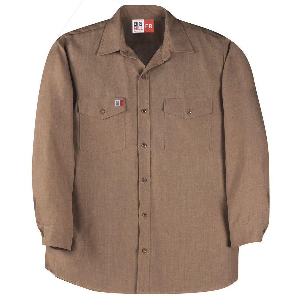 Big Bill FR TX290N4-KAK Khaki Dress Shirt - Fire Retardant Shirts.com
