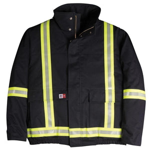 Big Bill FR V405N5-NAY Navy Bomber Jacket with Reflective Material - Fire Retardant Shirts.com