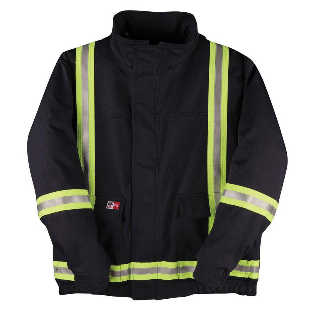 Big Bill FR L495US9-NAY Navy Unlined Jacket with Reflective Material - Fire Retardant Shirts.com