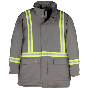 Big Bill FR M305US7-CHA Charcoal Parka Arctic with Reflective Material - Fire Retardant Shirts.com