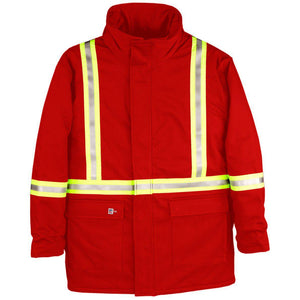 Big Bill FR M305US7-RED Red Parka Arctic with Reflective Material - Fire Retardant Shirts.com