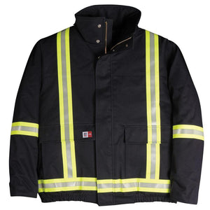 Big Bill FR M405US7-NAY Navy Bomber Jacket with Reflective Material - Fire Retardant Shirts.com
