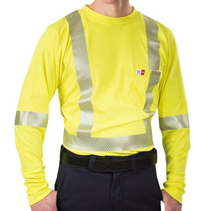 Big Bill FR SRT5PY6-YEL Yellow Hi-Vis Long Sleeve T-Shirt - Fire Retardant Shirts.com