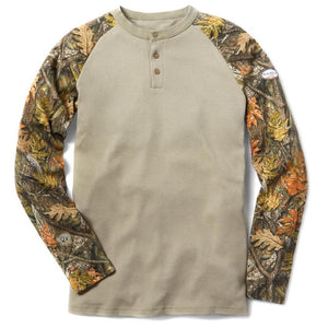 Rasco FR FR0401WC/KH Khaki and Camo Henley T-Shirt - Fire Retardant Shirts.com